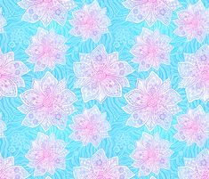 Blue and pink lacy flowers fabric by art_of_sun on Spoonflower - custom fabric