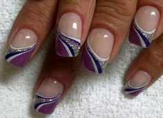 Discover See more about Cool Easy Nails, Easy Nail Art and Easy Nails. Nail Tip Designs, Purple Nail Designs, French Nail Designs, Acrylic Nail Designs, Nail Art Hacks, Easy Nail Art, Cool Nail Art, Purple Nail Art, Pretty Nail Art