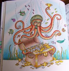 "From the ""Lost Ocean book by Johanna Basford"". Octopus and Treasure Chest full of gold. Colored by Donna Leger #lostocean #johannabasford"