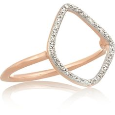 Monica Vinader Riva rose gold-plated diamond ring featuring polyvore, fashion, jewelry, rings, gold, diamond band ring, rose gold plated ring, monica vinader, diamond rings and band rings