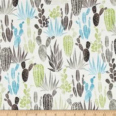 Desert Dawn Cactus Earth from @fabricdotcom  From Hoffman, this cotton print fabric features desert grass and cacti in bright hues that seem to add life to the desert. Perfect for quilting, apparel and home decor accents. Colors include white, sky blue and shades of green and grey.