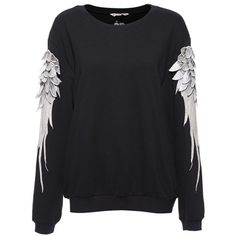 Black Long Sleeve Sweatshirt with Embroidered Wings ($109) ❤ liked on Polyvore featuring tops, hoodies, sweatshirts, sweaters, black sweatshirt, embroidered sweat shirts, black sweat shirt and black top
