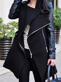Black PU Leather Long Sleeve Splicing Stand Up Collar Long Slim Belted Wool Coat