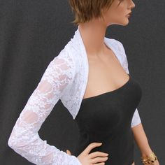 white lace Shrug bolero jacket bridal shrug bridal accessories wedding jacket wedding bolero. $32.00, via Etsy.