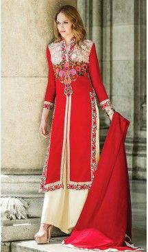 Pakistani Style Deep Scarlet Color Georgette Lehenga Dresses | FH462072091