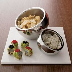 CB2 - Stainless Steel Snack Bowls  great housewarming/hostess gift!