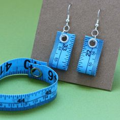 Tape Measure Jewelry Set in Blue  Earrings and by undoneclothing, $10.00