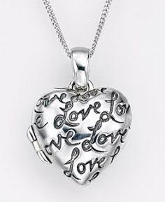 silver love locket