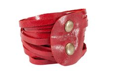 Red  leather wriststrips bracelet Woman bracelet by maykobags, $25.00