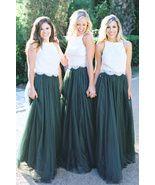 09b8ebff7ad4 DARK GREEN High Waist Tulle Maxi Skirt Green Wedding Bridesmaid Maxi Tul...  -
