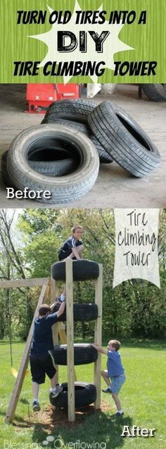 Old Used Tires into a DIY Tire Climbing Tower - great way to reuse old tires and create frugal outdoor play equipment!Turn Old Used Tires into a DIY Tire Climbing Tower - great way to reuse old tires and create frugal outdoor play equipment! Kids Playset Outdoor, Diy Outdoor Toys, Outdoor Toys For Kids, Backyard For Kids, Outdoor Games, Outdoor Fun, Backyard Ideas, Tire Playground, Outdoor Playground