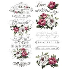 Transfert pelliculable Redesign Prima marketing décor Hopeful Wishes Red And White Flowers, Red Flowers, Rub On Transfers, Image Transfers, Real Milk Paint, Foto Transfer, Heat Transfer, Transfer Paper, Iron Orchid Designs