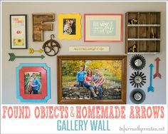DIY Home Decor | Looking for galley wall inspiration? My new gallery wall is filled with meaningful family photos, found objects, and homemade wood arrows!