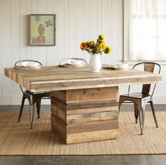 Attractive Square Wood Dining Tables Truckee Square Dining Table Wooden  Boards Reclaimed From Old