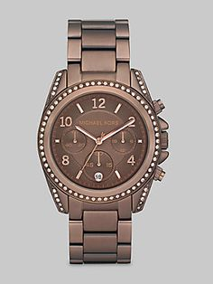 Michael Kors Chocolate Ion-Plated Stainless Steel & Crystal Chronograph Watch