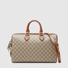 3c9542431b7d Gucci GG Supreme top handle bag Brown Leather Purses