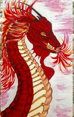 A fiery dragon on a longish tile Fiery Dragon, Tigger, Disney Characters, Fictional Characters, House, Animals, Ideas, Art, Art Background