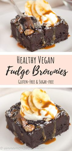 Fudgy Vegan Black Bean Banana Brownies | These decadent fudge brownies are the best vegan brownies you will ever eat! Easy to make in a food processor, naturally sweetened and loaded with plant-based protein and healthy fats. Serve with coconut whipped cream and coconut caramel for the ultimate vegan dessert #vegandesserts, #sugarfreedesserts #brownies #healthyrecipes