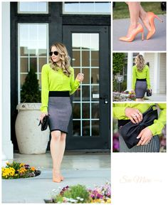 lime green top neon orange pumps