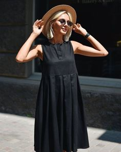 Cómo combinar un vestido negro - Outfit vestido negro - Mode Outfits, Dress Outfits, Fashion Dresses, Simple Dresses, Casual Dresses, Summer Dresses, Linen Dresses, Outfit Vestido Negro, Dress Skirt