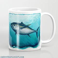Mug • Bluefin Tuna • Watercolor art by wildife artist Amber Marine ••• AmberMarineArt.com