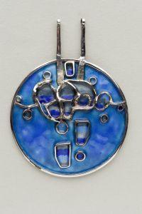 Stickleback Motif Blue Pendant