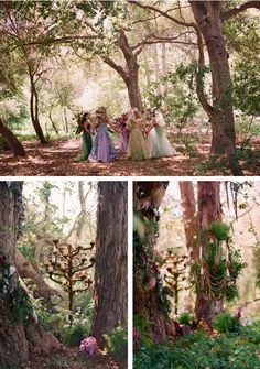 Take the wedding party to a wooded area for a backdrop that stages itself.