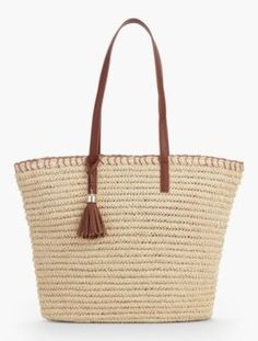 Crocheted Paper Straw Tote - Fashion Colors | Talbots