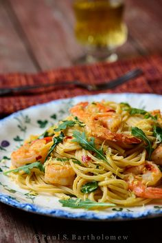 "Shrimp and Arugula with Spaghetti Rigati - pair this fired up ""Rocket"" Shrimp with a glass of fruity white wine or a dry Martini."