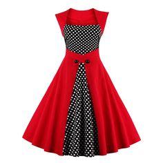 Vintage Retro Women Dress Sleeveless Polka Dot 2017 Summer Party Evening Vestido Elegant Ladies Red A Line Plus Size 4XL - RED XL