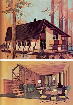 Vacation Homes Practical Encyclopedia of Good Decorating and Home Improvement Mid Century House, Mid Century Style, Mid Century Modern Design, Vintage House Plans, Vintage Cabin, Vintage Houses, Vintage Decor, A Frame House, All I Ever Wanted