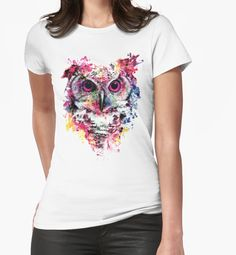 Owl by RIZA PEKER #owl #wild #animals #watercolor #digital #art #painting #tshirts #women #men #fashion #fashionblogger #artist #design #cool #creative #redbuble