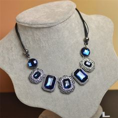 Blue rhinestone gem acrylic choker