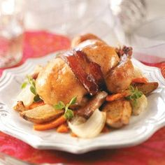 Roasted Cornish Hens with Vegetables Recipe from Taste of Home -- shared by Lily Julow of Gainesville, Florida  #Christmas #dinner