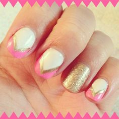 white & gold glitter gels with Sienna by @Julep and Shocking Pink by China Glaze on the tips | allGLAMMEDup nail art, nails
