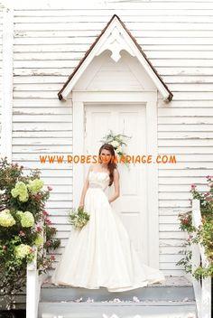 Watters robe glamour ivoire empire au drapé robe de mariée satin