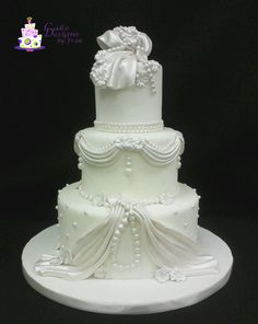 Beads & Lace Wedding Cake I wanted to create a more elegant wedding cake than what I'd done in the past. Elegant Wedding Cakes, Lace Wedding, Cake Creations, Gum Paste, Beaded Lace, Themed Cakes, Birthdays, Beads, Desserts