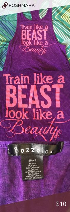 Beauty & the Beast work out tank top Razorback. Sheer. Very light, deep back. Perfect for working out in when you want something light on. Purple shirt with hot pink writing. Blogilates Tops Tank Tops