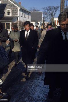 Senator Edward Kennedy (C) during the inquest investigation into the death of Mary Jo Kopechne on the Chappaquiddick Bridge.