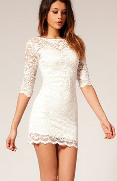 White Boat Neck Half Sleeve Bodycon Lace Dress