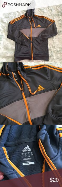Adidas Large L zip up hoodie track jacket gray Excellent pre owned condition! adidas Sweaters Zip Up