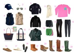 college Closet Essentials  1) Baseball hats  2)Pearls Earrings  3)Aviator Sunglasses  4)Vests  5)Shep Shirts  6)Pullover  7)Barbour Jacket  8)Longchamp bag  9)Wristlet  10)Tote  11)Scarves  12)Large t-shirts  13)Norts  14)Yoga Pants  15)Leggings  16)Rainbows  17)Jack Rodgers  18)Black flats  19)Ugg boots  20)Bean boots  21)Cowboy boots  22)Riding boots  23)Rain boots(Hunter)