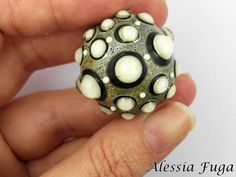 """Handmade focal lampwork glass bead in ivory and lagoon, """"Fenice"""" series di alessiafuga su Etsy"""