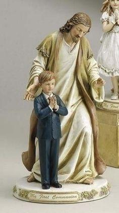 First Communion Little Boy With Jesus Figure