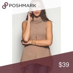 Taupe Sleeveless Top Ribbed with relaxed flares at the bottom. So cute and comfy! Tops