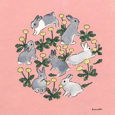 Acrylic Paint by Schinako Moriyama. Schinako Moriyama is an illustrator as bunny art from Fukushima, Japan Continue reading and for more Acrylic art→View Website Art And Illustration, Lapin Art, Rabbit Art, Rabbit Drawing, Bunny Art, Aesthetic Art, Graphic, Cute Drawings, Cute Art