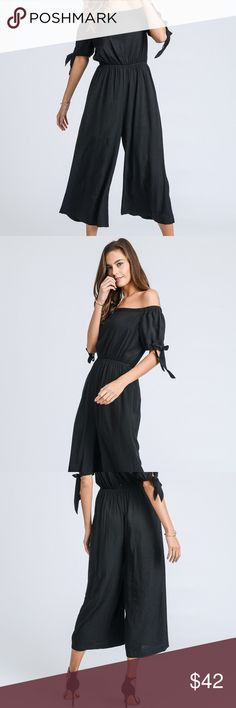 Black Midi Jumpsuit with Button Back & Tie Sleeves Welcome to my boutique!   This is our classy and sexy off-shoulder midi jumpsuit featuring buttons down the back and tie sleeves. This will become a staple in your closet due to its classic look, which you can dress up or down for summer! Dresses Midi
