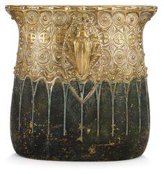 A Gustav Gurschner Art Nouveau bronze vase, Vienna, Austria.