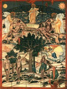 Πρέβελης Μιχαήλ-Η Δημιουργία του Κόσμου, Περί το 1750 Byzantine Art, Byzantine Icons, Greek Icons, Church Interior, Sacred Art, Catholic, Paradise, Creations, Faith