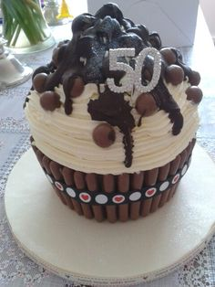 50th birthday cake giant cupcake chocolate maltesers